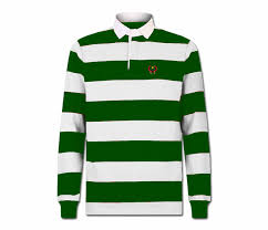 men s forest green and white collard heru rugby shirt long sleeve