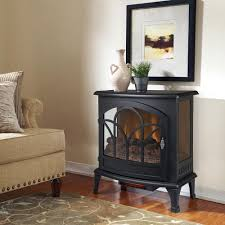 freestanding infrared curved front panoramic stove with glass front in black