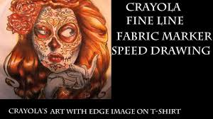 art with edge sugar skull sd coloring using crayola s fine line fabric markers you
