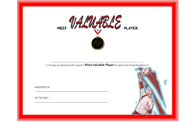 Mvp Certificate Template Free For Volleyball One Package