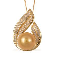 south sea golden cultured pearl 11 5 12 mm white zircon vermeil yg over sterling silver pendant with chain 18 in total gem stone weight 0 55 carat