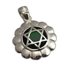 heart chakra stone pendant silver 2 cm zoom