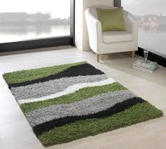 picture of nordic sombre green black modern rug