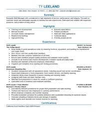 example of manager resume