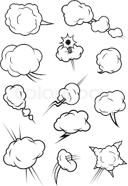 cartoon cloud icons in ic book style isolated ulus outline clouds vector elements of smoke puff steam vapor fume clap explosion pierce