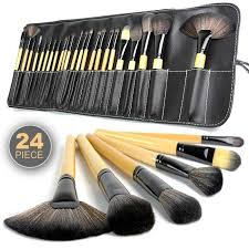 shocking promo 24 piece makeup brush set with cosmetic bag