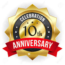 Anniversary Ribbon Gold Red Ten Year Anniversary Badge With Ribbon Royalty Free