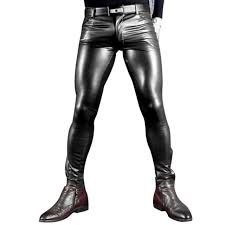 faux leather skinny biker jeans with topstitching detail on the knee featuring a five pocket design zip pockets on the leg and zip fly and top