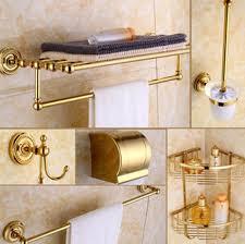 Best Bath Decor bathroom hardware accessories : Luxury Golden Brass Bath Hardware Hanger Set Discount Package ...