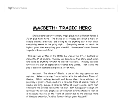 tragic hero essays macbeth english literature essays macbeth as a tragic hero