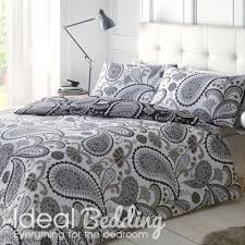 home paisley black grey complete duvet quilt bedding cover and pillowcase bedding set previous next