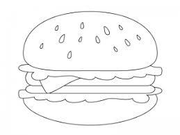 ぬりえ素材ハンバーガーファーストフード イラスト無料かわいい