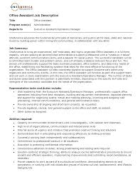 Resume Office Assistant Job Description