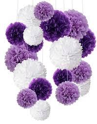 Tissue Paper Pom Poms Flower Balls Tissue Paper Pom Poms Recosis Paper Flower Ball For Birthday Party Wedding Baby Shower Bridal Shower Festival Decorations 18 Pcs Purple Lavender