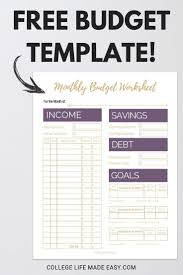 Keeping A Budget Worksheet Fix Your Finances Asap With My Free Simple Monthly Budget