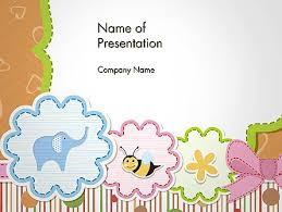 Cute Baby Shower Invitation Powerpoint Template Backgrounds
