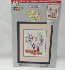 Sailboat Cross Stitch Pattern Hobie Races Sailing Nautical Boating Young Boys