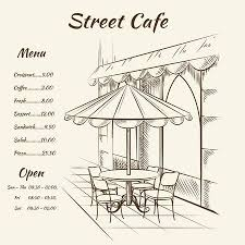 restaurant exterior drawing. Brilliant Drawing Hand Drawn Street Cafe Background Menu Design Sketch Restaurant City  Exterior Architecture Inside Restaurant Exterior Drawing T