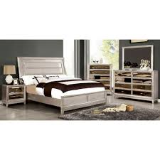 Silver Mirrored Bedroom Furniture Furniture Of America Golva Bedroom Set In Silver Finish Local