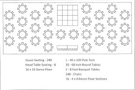 Round Table Seating Chart For 8 40x100 Pole Tent Round Tables Dance Floor Seating For