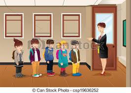 school door clipart. Teacher Lining Up The Students - Csp19636252 School Door Clipart