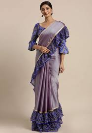 Light Purple Color Saree Light Purple Chiffon Ruffle Border Saree With Blouse 60838