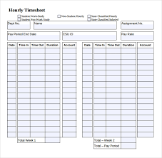 18 Hourly Timesheet Templates Free Sample Example Format