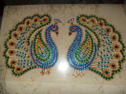 Kundan Rangoli Designs Small Kundan Rangoli Peacock Design A4 Size For Sale Rangoli