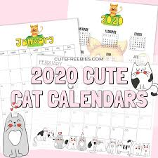 Free 2020 Monthly Calendar Template Printable Cat Calendar 2020 And More Cat Printables Cute