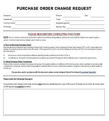 Purchase Order Forms Sample Standard Purchase Order Form Change Request Example Log Template
