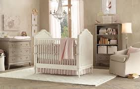 Elegant Baby Girls Nursery Ideas White Wooden Crib Pink Colors  Patterned Bumper Pad ... B