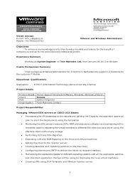 Resume. 1 Vinoth Arjunan E-mail: vinu_v@yahoo.in VMware and Windows  Administrator ...