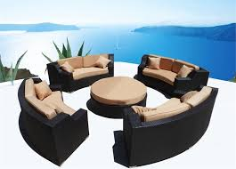 save 374 modern savannah round wicker sectional sofa outdoor patio furniture 2 canopy chaise lounges