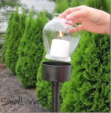 do it yourself outdoor lighting. DIY Outdoor Candle Lantern: Tuna Fish Can, PVC Pipe, Dollar Store Vase And Candles. Beautiful Walk Way Or Patio Idea. Do It Yourself Lighting R
