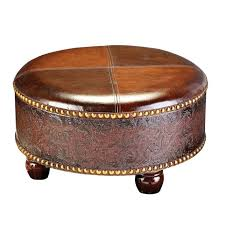living room furniture carved round brown leather with regard to ottoman coffee table prepare 16