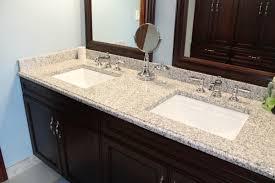 granite bathroom countertops. Blue Bathroom With Luna Pearl Granite Countertops And Two Built In Sinks