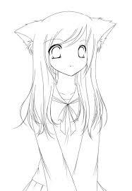 Adorable Neko Anime Girl Line Art Disegni Nel 2019 Disegni Da