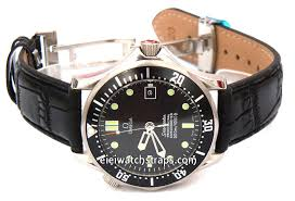 classic black crocodile grain leather watch strap deployment clasp for omega seamaster professional