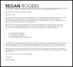 Reporting Analyst Cover Letter Sample