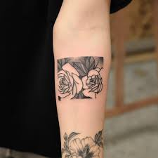 Two Roses Tattoo In The Rectangle Tattoogridnet