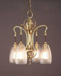 art nouveau brass 4 branch chandelier upton glass shades antique lighting