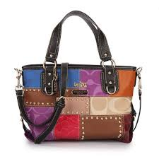 Coach Holiday Matching Stud Medium Black Multi Totes EBU