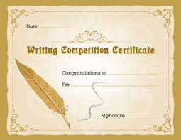 Writing Competition Award Certificates | Professional Certificate ...