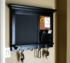 Gorgeous Frame Of Chalkboard Key Holder Design Which Is Painted In Cool  Black Combined With Metal