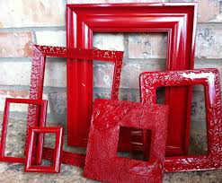 Red And Grey Decorating Upcycled Frames Vintage Red Frames Unique Home Decor Alice In