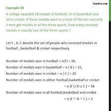 Examples Of Venn Diagram Problems With Answers Example 34 A College Awarded 38 Medals In Football 15 Basketball