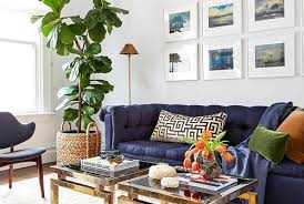 Furniture for small houses Simple Modern Living Room With Large Blue Velvet Couch Gold And Glass Coffee Tables Better Homes And Gardens Smallspace Decorating Better Homes Gardens