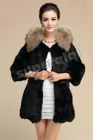 100 real genuine rabbit fur coat rac collar