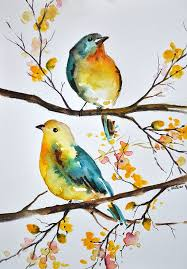 original watercolor bird painting colorful aqua blue yellow birds 6x8 inch