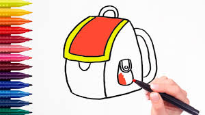 Small Picture How to draw School Backpack Coloring Pages for Kids Learning